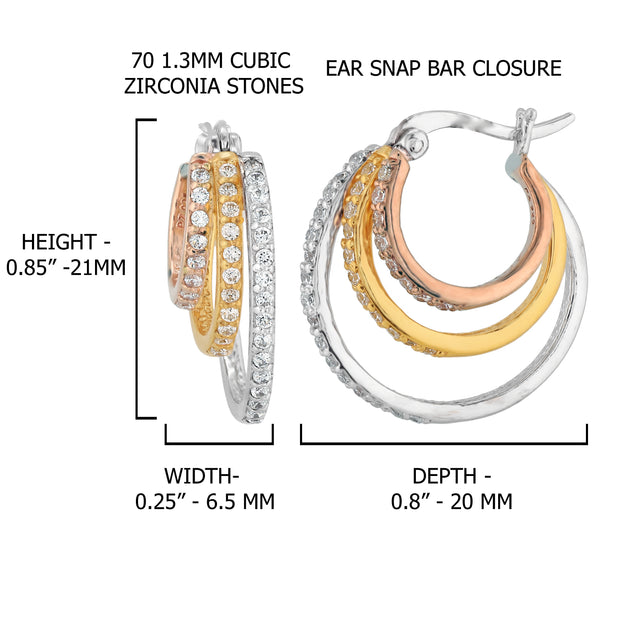 Silver Tri-Color Triple Hoop & Cubic Zirconia Earrings  - Paz Creations Jewelry