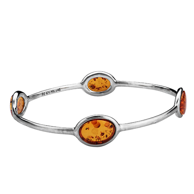 Sterling Silver and Baltic Amber Bangle  - Paz Creations Jewelry