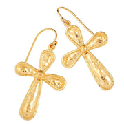 14K Gold Over Sterling Silver Hammered Textured Cross Dangle Earrings  - Paz Creations Jewelry