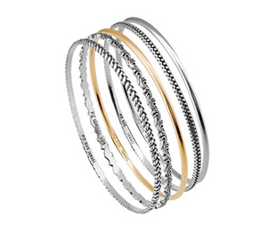 Sterling Silver and 14K Gold Plated Bangles - Paz Creations