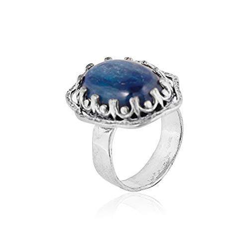 Sterling Silver  Kyanite or Malachite Cocktail Ring - Decorated Victorian Bezel Design  - Paz Creations Jewelry