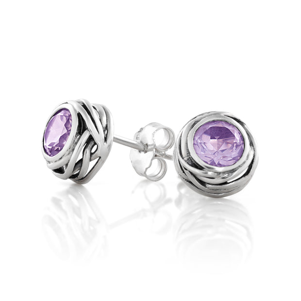 Sterling Silver Solitaire Gemstone Stud Earrings  - Paz Creations Jewelry