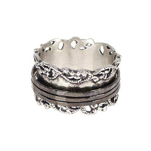Silver Spinner Ring with Black Rhodium Spinners - Paz Creations