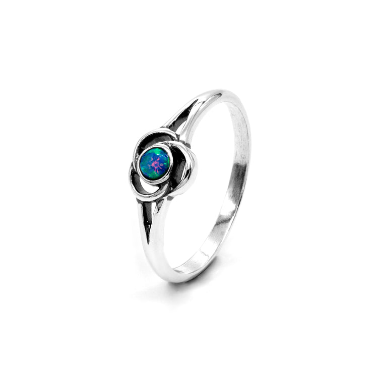 Dainty 925 Sterling Silver Blue Lab Opal Ring - Modern Flower Knot Design  - Paz Creations Jewelry