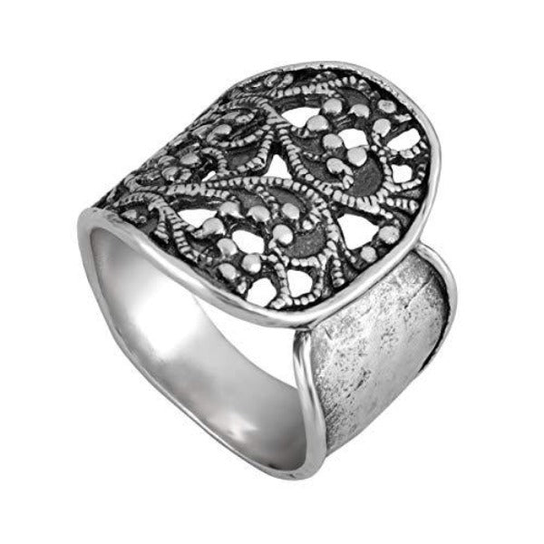 Sterling Silver Lace Textured Wrap Ring  - Paz Creations Jewelry
