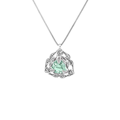 "Sterling Silver Trillion Cut Rose De France or Prasiolite  Gemstone Pendant Necklace for Women | 18"" Box Chain  - Paz Creations Jewelry"