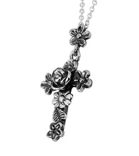 Silver Floral Cross with Pendant Chain Necklace - Paz Creations