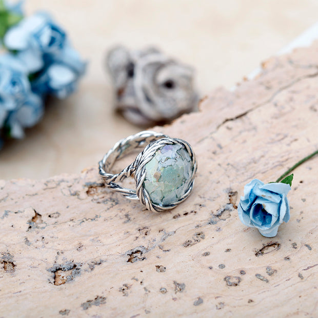 Sterling Silver  Roman Glass Statement Ring  with Twisted Organic Design  - Paz Creations Jewelry
