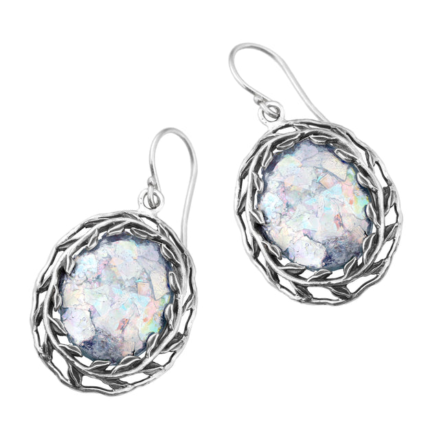 Sterling Silver Leaf Design Roman Glass Large Oval Shaped Dangle Earrings  - Paz Creations Jewelry