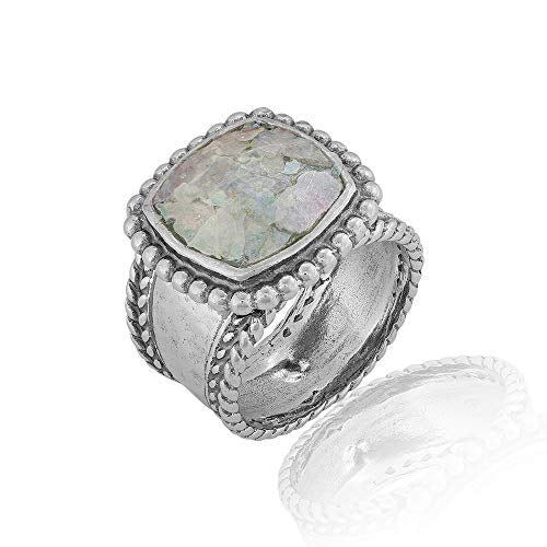 PZ Paz Creations Roman Glass Band Ring for Women Girls | Sterling Silver Intricate Design  - Paz Creations Jewelry