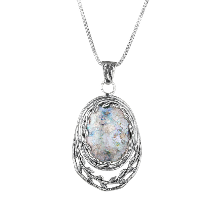 "Sterling Silver Oval-Shapped Leaf Design Roman Glass Pendant Pendant Necklace with 18"" Box Chain  - Paz Creations Jewelry"