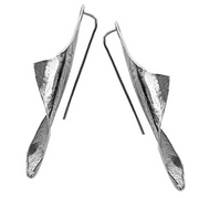 Sterling Silver Elongated Sculpted Earrings - Paz Creations