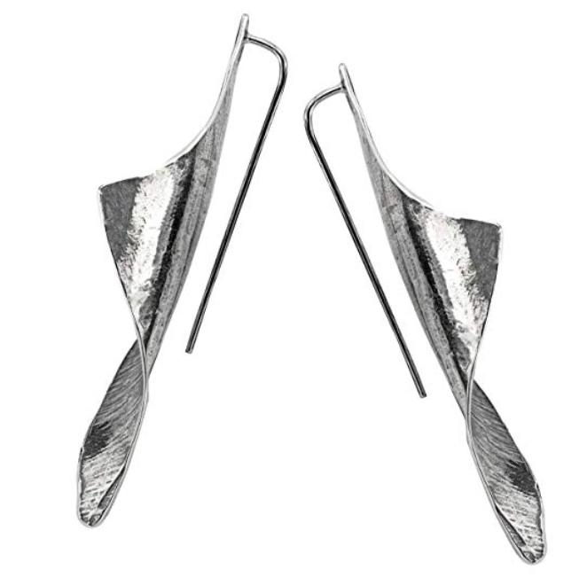 Sterling Silver Elongated Sculpted Earrings  - Paz Creations Jewelry