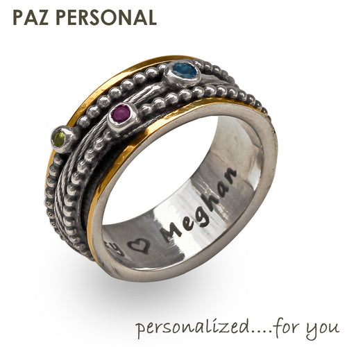 Personalized Silver & 14K Gold Multi-Gemstone Spinner Ring - Paz Creations
