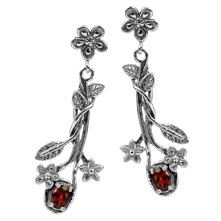 Sterling Silver 1.50 Ct. Garnet Dangle Earrings - Paz Creations