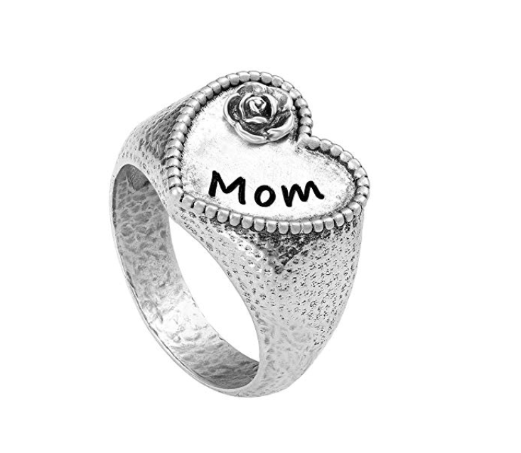 Sterling Silver Heart-Shaped Signet Ring - Just for MOM  - Paz Creations Jewelry