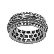 Sterling Silver Textured Spinner Ring - Men\'s rings  - Paz Creations Jewelry