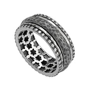 Sterling Silver Matte Spinner Ring - Men\'s rings  - Paz Creations Jewelry