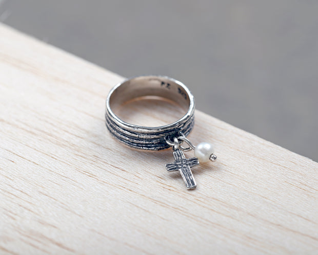 Sterling Silver Cross Charm Ring - Paz Boutique  - Paz Creations Jewelry