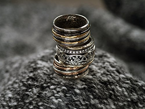 Silver and 14K Yellow Gold & Black Rhodium Plated - Men\'s and Women\'s -  Spinner Ring  - Paz Creations Jewelry
