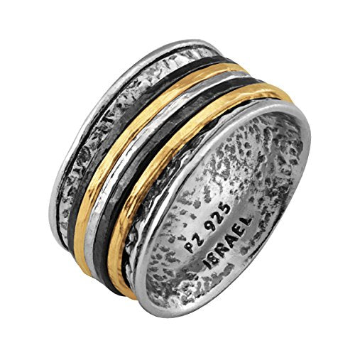 Silver and 14K Yellow Gold & Black Rhodium Plated Spinner Ring - Mens & Womens - Paz Creations