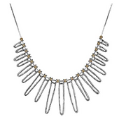 Sterling Silver Two-Tone Statement Necklace  - Paz Creations Jewelry