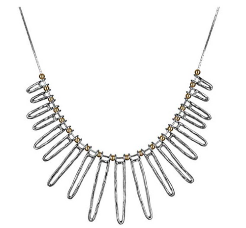 Sterling Silver Two-Tone Statement Necklace - Paz Creations