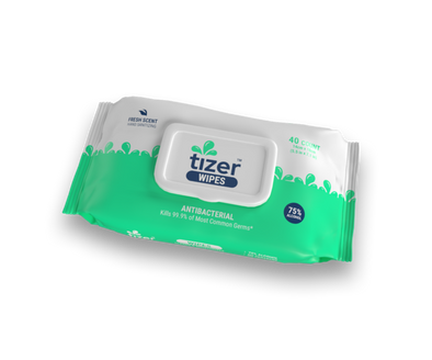 sold by Guardian Tizer sanitizing wipes with 75% alcohol. in 40 count packs and 80 count canisters.