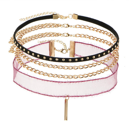 Pink Mesh Chain Set (4 pc.)