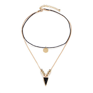 Black Stone Inverted Triangle Choker (2pc.)