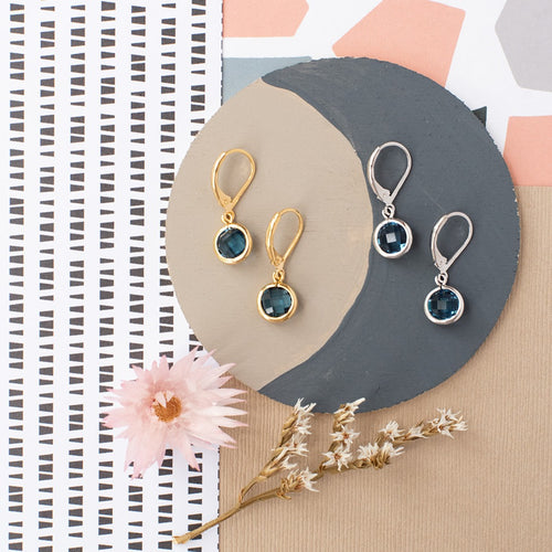 Circle Gemstone Earring Leverback