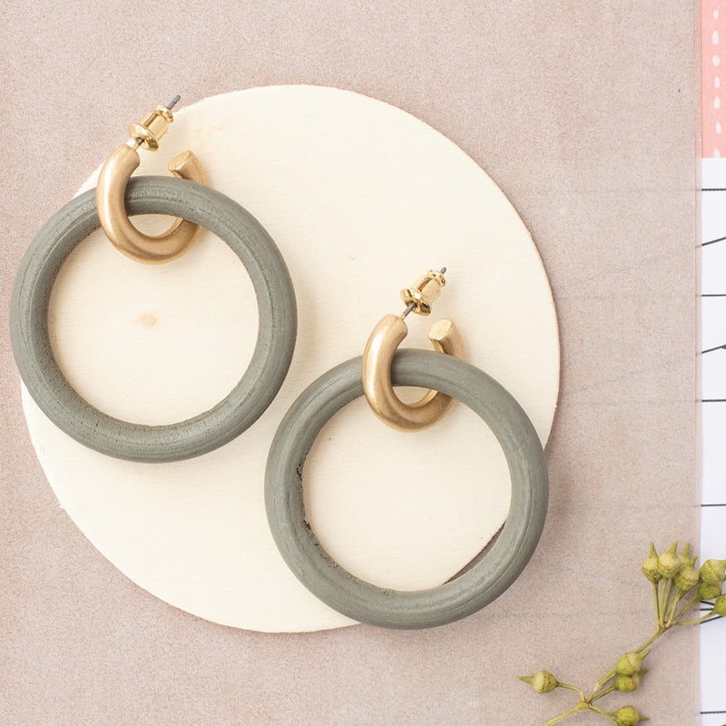 Wood Double Circle Hoop Earrings