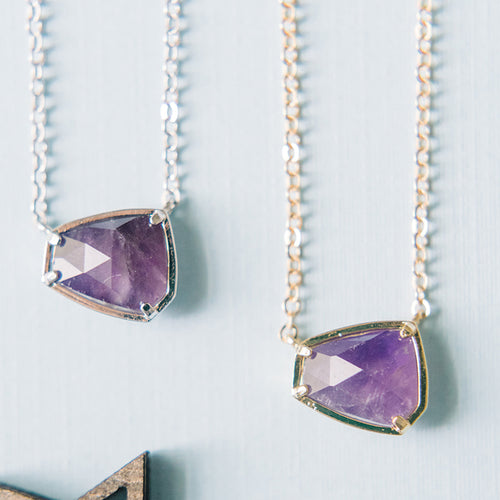 Gemstone Hexagon Necklace - Amethyst