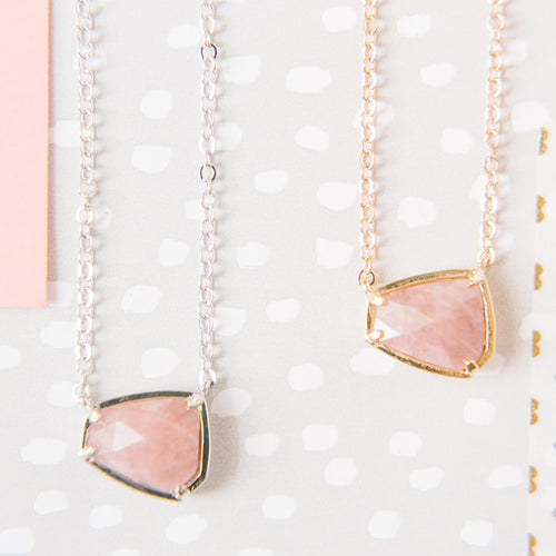 Gemstone Hexagon Necklace - Rose Quartz
