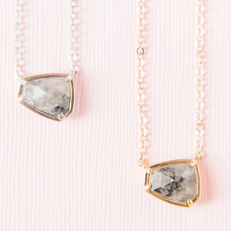 Gemstone Hexagon Necklace - Labradorite