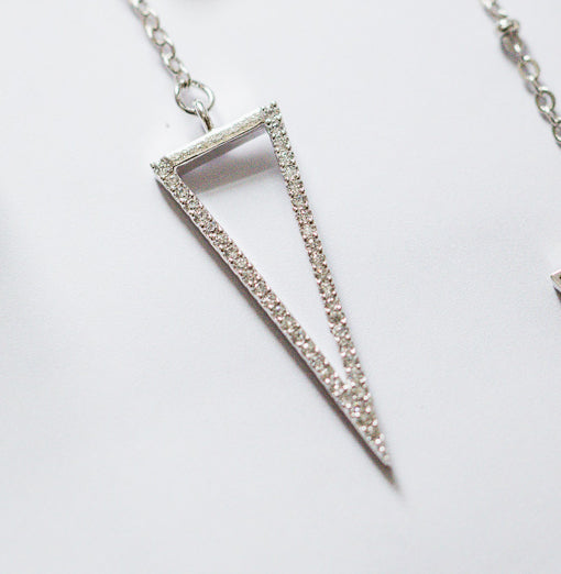 Long Triangle CZ Y Necklace