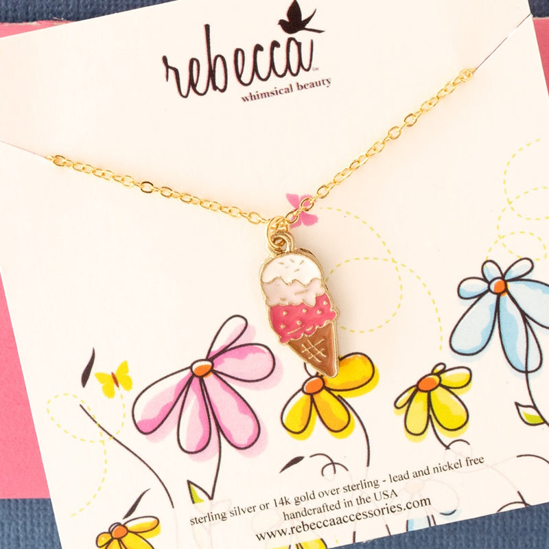 Pink Ice Cream Necklace Children's