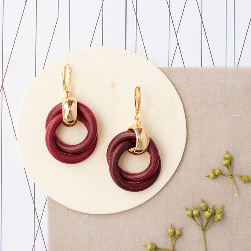 Wood Loop Dangle Earrings