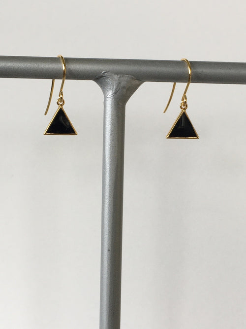 Black Howlite Triangle Earring