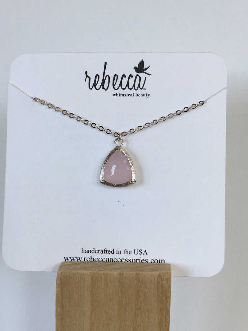 Pink Triangle Gemstone Necklace
