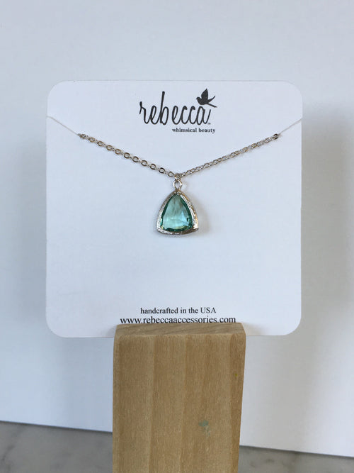 Erinite Triangle Gemstone Necklace