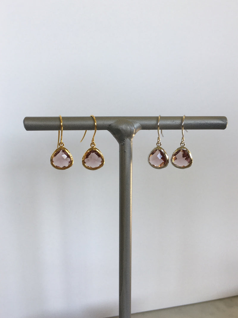 Marsala purple gem fish hook earring