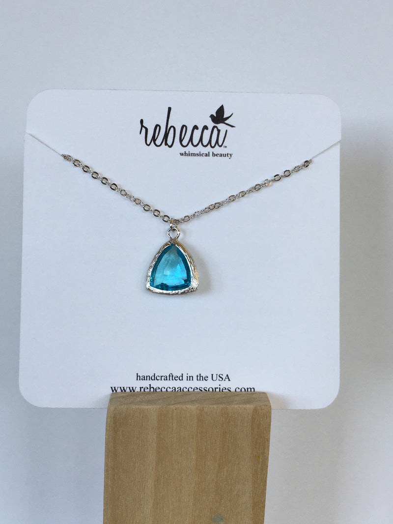 Aqua Triangle Gemstone Necklace