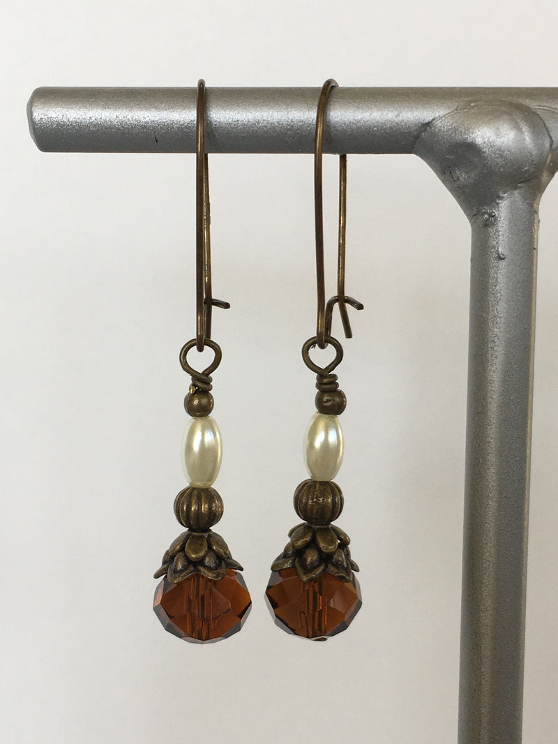 Pearl and Brown Bead Earring