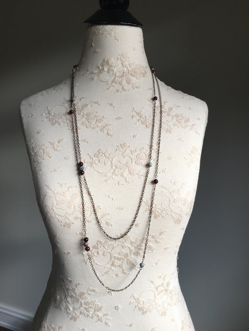 Mixed Gemstone Extra Long Necklace