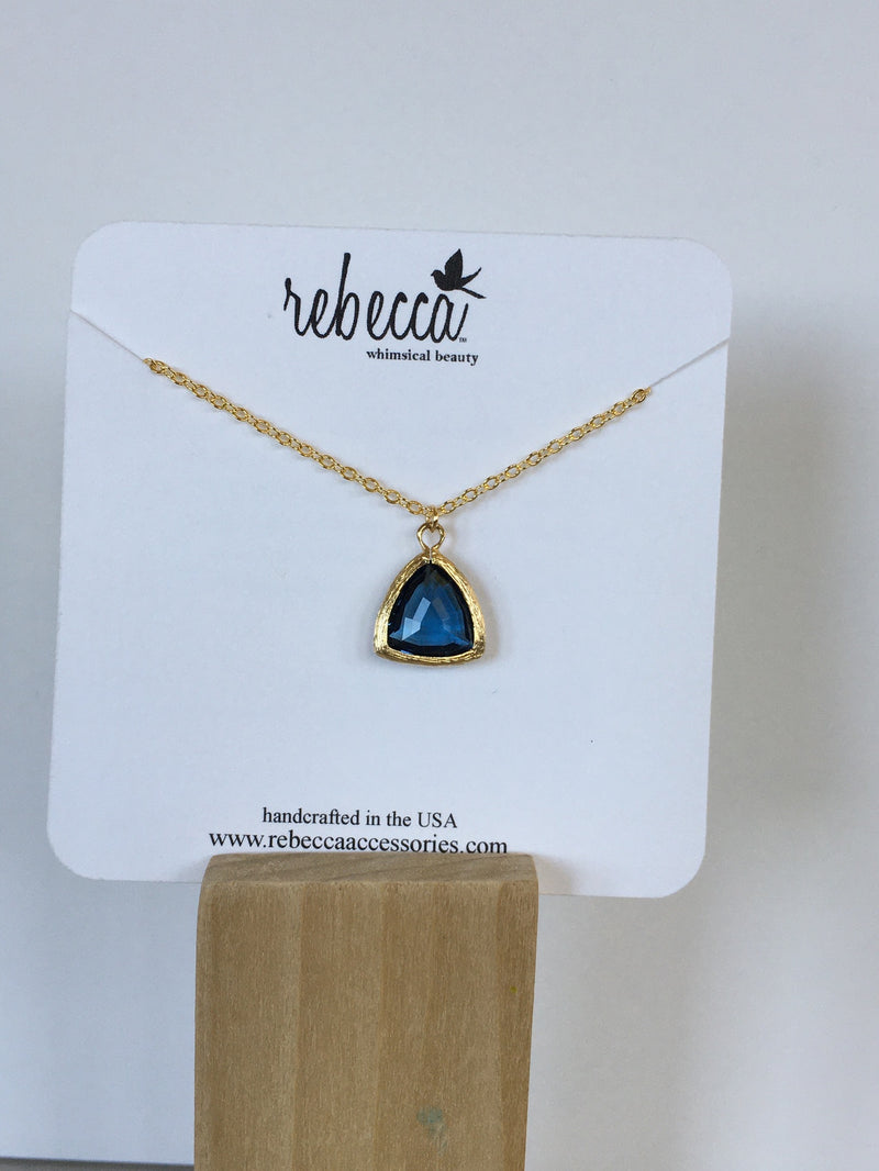 Blue Triangle Gemstone Necklace