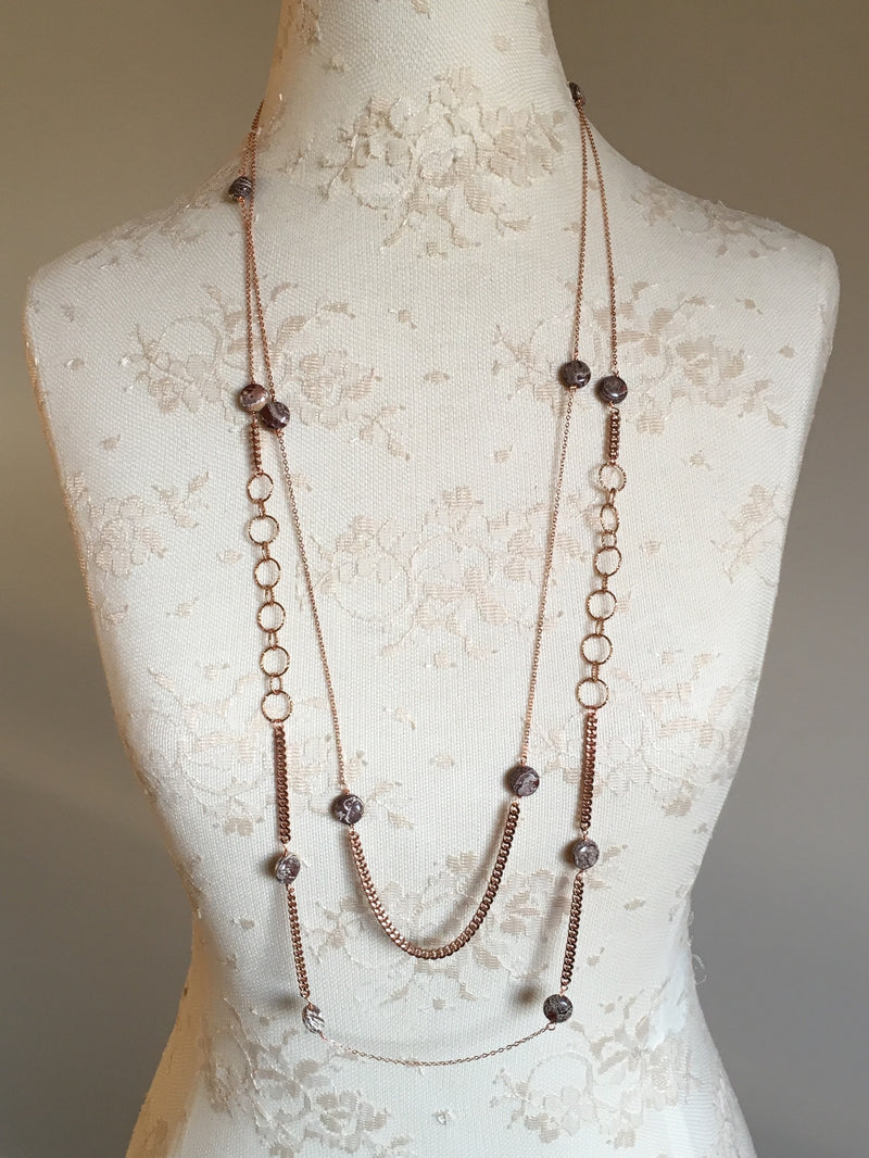 Tiger Eye Gemstone Extra Long Necklace