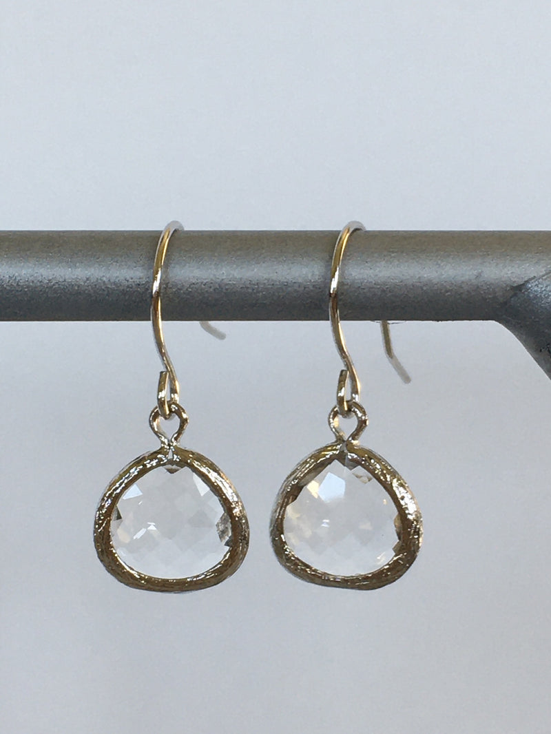 Clear Gem Fish Hook Earring