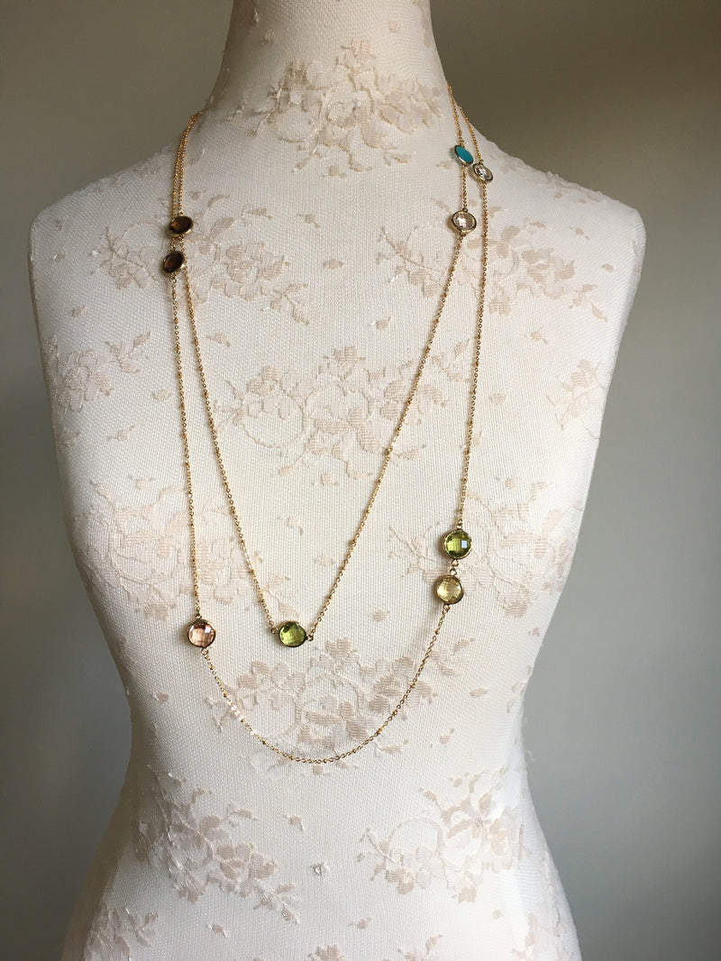 Extra Long Gemstone Necklace