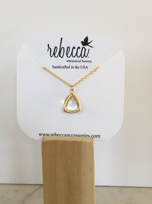 Clear triangle gemstone necklace